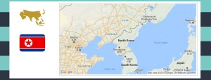 Map and flag of North Korea.