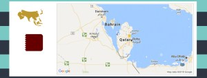 Map and flag of Qatar.