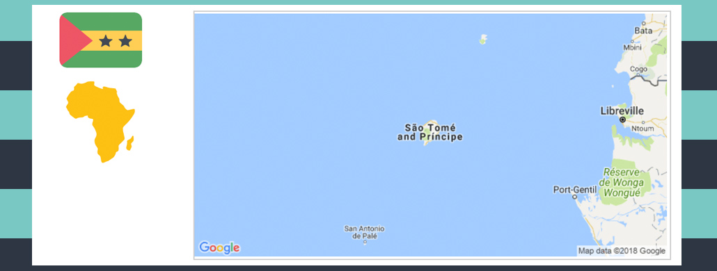 Map and flag of Sao Tome and Principe.