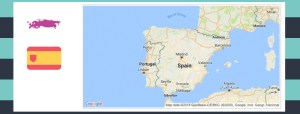 Map and flag of Spain.