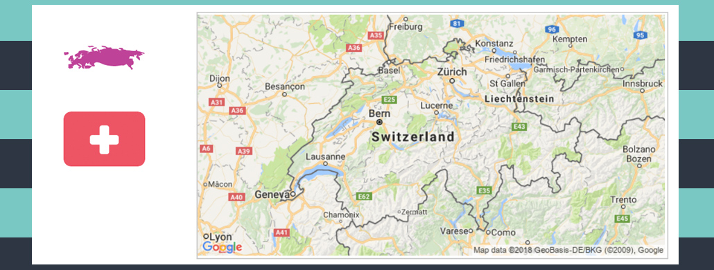Map and flag of Switzerland.