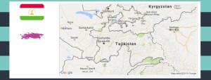 Map and flag of Tajikistan.