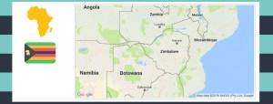 Map and flag of Zimbabwe.