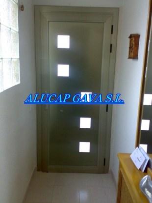 puerta aluminio imitacion inox