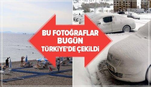 Türkiye'de aynı günde 2 mevsim yaşandı! Doğuda kar yağdı, güneyde güneş keyfi .
