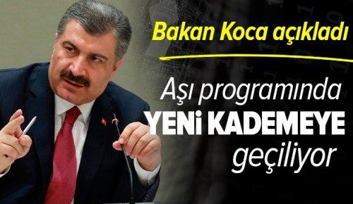 Sağlık Bakanı Fahrettin Koca duyurdu: Aşı programında yeni bir kademeye geçiyoruz .