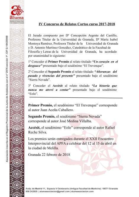 Acta del IV Concurso de Relatos Cortos-1