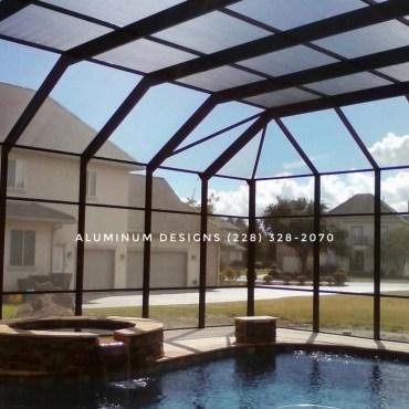Pool enclosure Built by Aluminum Designs of Saucier, MS.