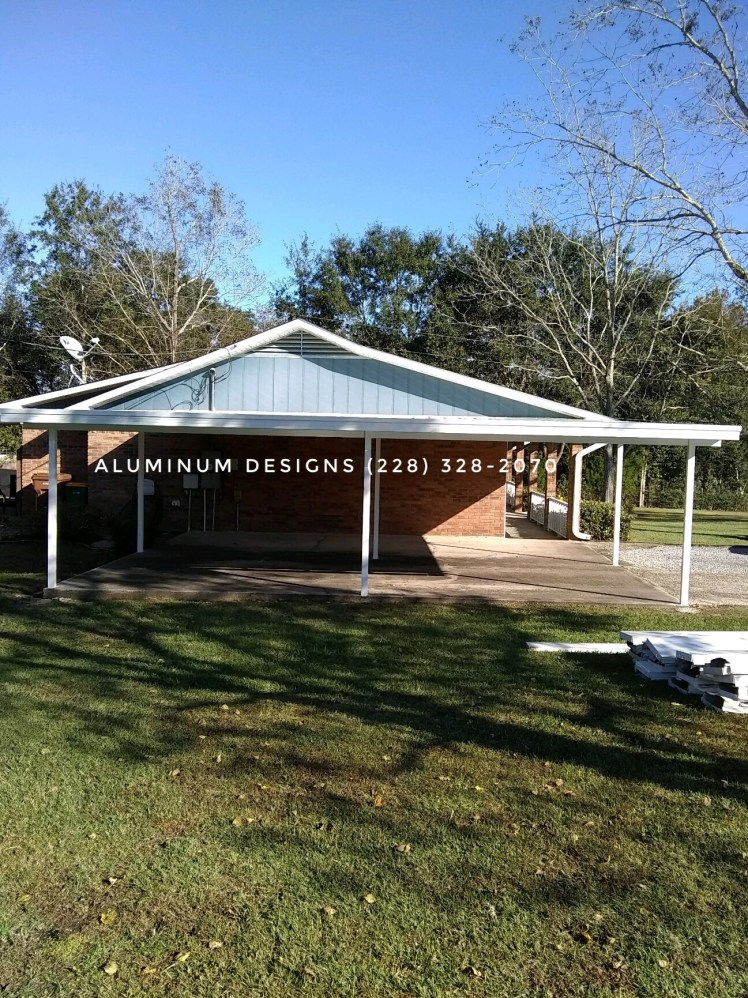 double aluminum carport white frame pan roof system