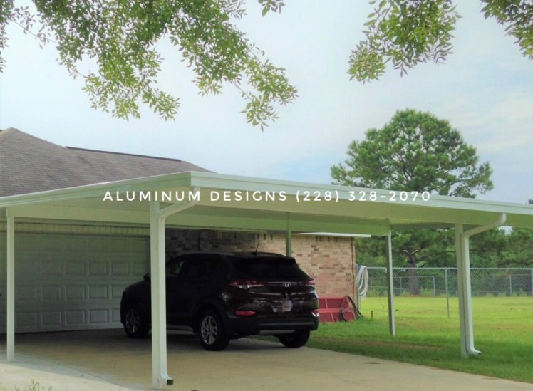 double aluminum carport white frame