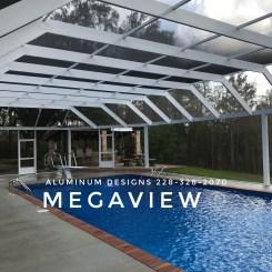 Megaview pool enclosure Built by Aluminum Designs of Saucier, MS.