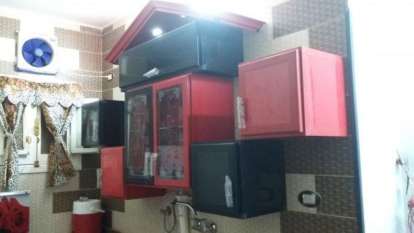 مطبخ اسود مع احمر