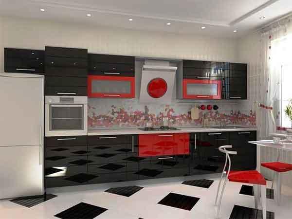 احدث مطابخ مطبخ احمر فى اسود
