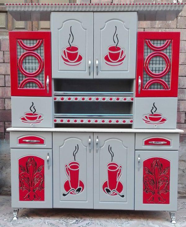 مطبخ خشب مقاس 160 سنتيمتر بالون الفضى والاحمر