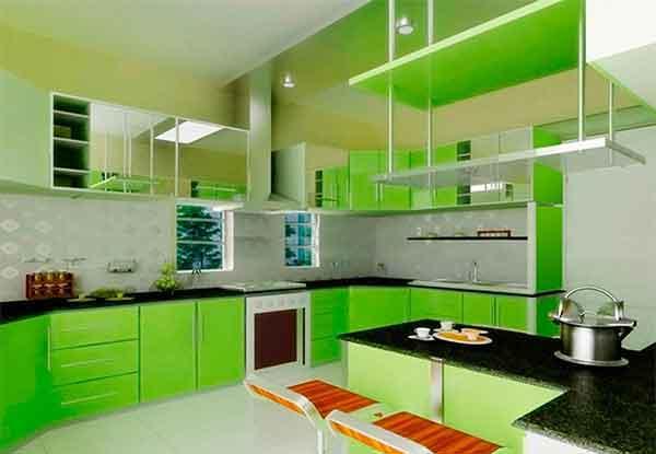 مطبخ اخضر ديكورات خزائن المطبخ