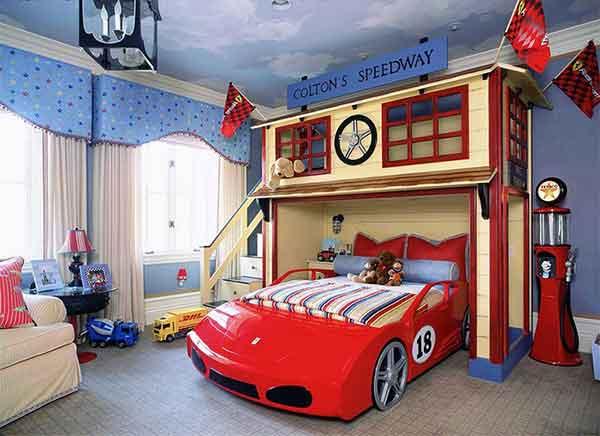 غرف نوم اطفال حديثه على شكل سيارة