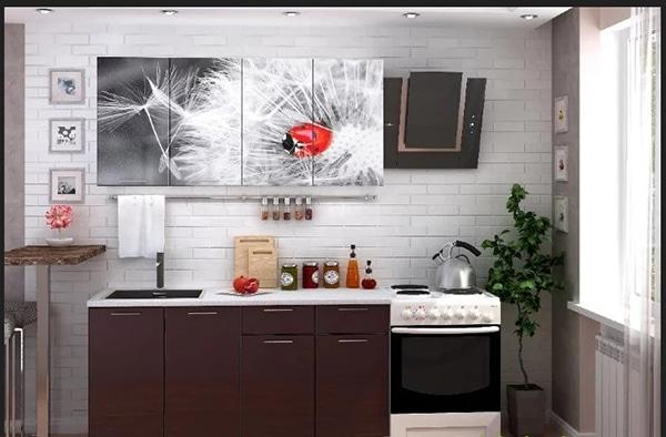صور مطبخ بلون بني 4 درف صغير 2 متر الوان مطابخ صغيرة