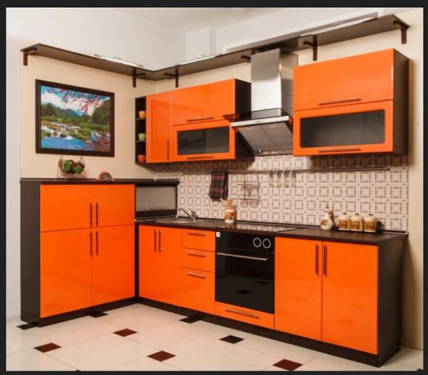 مطبخ جديد لون اسود مع الاورنج باجمل صور المطابخ