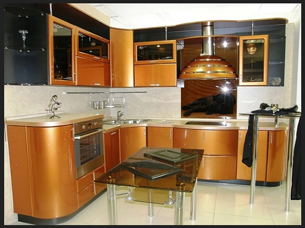 مطبخ لون ذهبي بلون الدهب اجمل الوان المطابخ الامعة