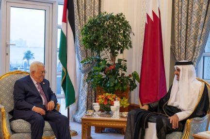 امير قطر يبحث مع الرئيس الفلسطيني تطورات الاوضاع في الاراضي الفلسطينية