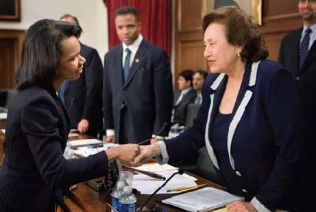 US Representative Nita Melnikoff Lowey '59 greets Secretary of State Condoleezza Rice.