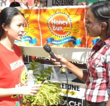 "Laurian Lue Yen '10 speaks with the media about ""Brush Up Jamaica"""