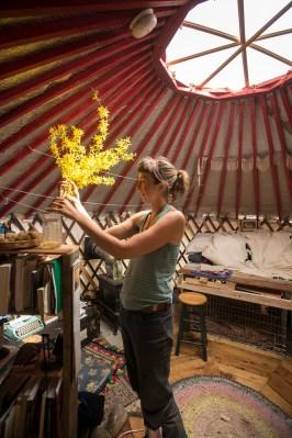 Liv Cavallaro '08 in her yurt
