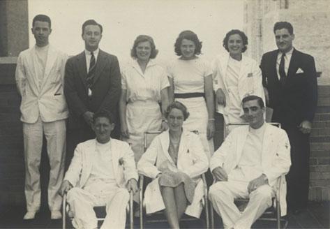 Virginia Apgar with colleagues at Columbia-Presbyterian Hospital.