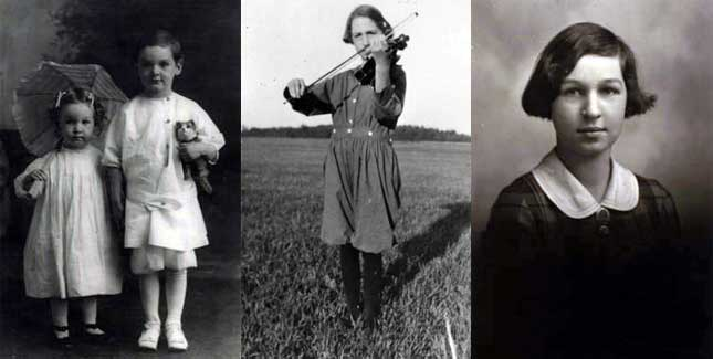 Apgar with her brother Lawrence, 1912; Playing the viola, a lifelong hobby, 1919; At age 10, 1919.