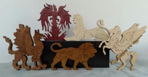 Wooden Mascot Puzzles: Lion, Pegasus, Sphinx, Griffin, and Phoenix