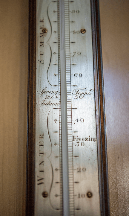 Stick Barometer with bayonet cistern tube and Fahrenheit thermometer (detail) Ca. 1770, mahogany case with silvered scale and brass fittings, English, George Adams I (b. ca. 1704-d. 1772) Fleet Street, London