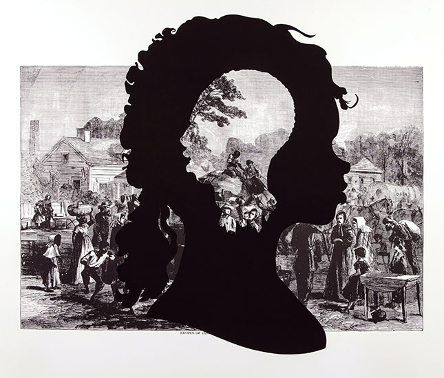 Kara Elizabeth Walker (American, b. 1969). Exodus of Confederates from Atlanta, from the series Harper's Pictorial History of the Civil War (Annotated), 2005. Offset lithography and silkscreen on Somerset textured paper. Purchase with the Susan and Bernard Schilling (Susan Eisenhart, Class of 1932) Fund and the Belle and Hy Baier Art Acquisition Fund. 2012.14.9