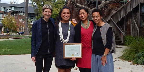 From left to right: Rosalie Fanshel, program manager with the Berkeley Food Institute; Mari Rose Taruc, chair of the board of directors of the Filipino/American Coalition for Environmental Solidarity; Aileen Suzara '06; and Mount Holyoke Professor Lauret Savoy