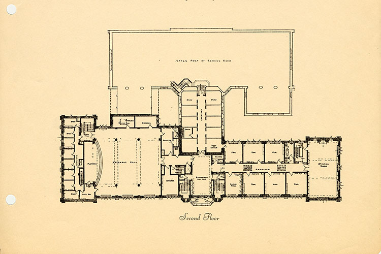 1935: Second Floor library floor plan