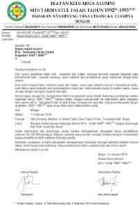 Surat Undangan Reuni Alumni Mts Tarbiyatul Falah Desa Cinangka