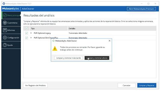 Eliminación de Adware y amenazas con AdwCleaner.