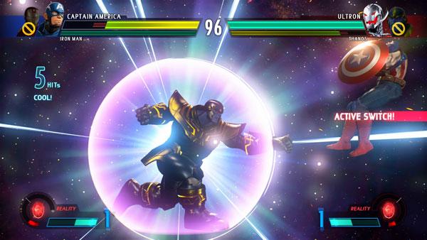 Combate entre Thanos y el Capitán América en Marvel vs Capcom Infinite