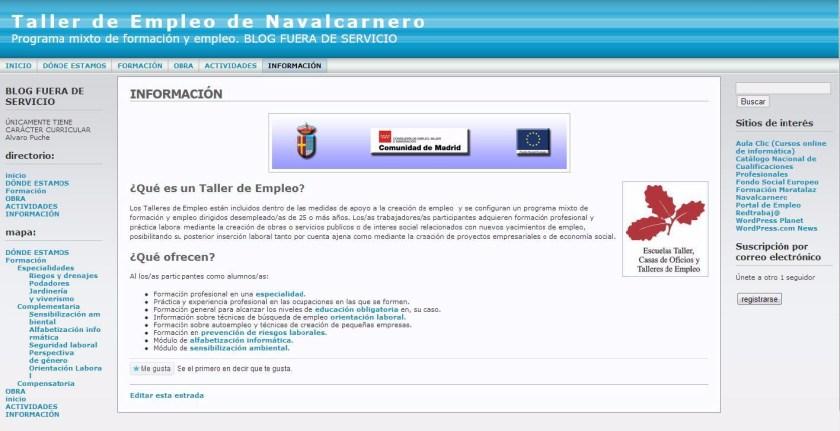 Blog Taller de Empleo de Navalcarnero. Sitio Web creado por Alvaro Puche.