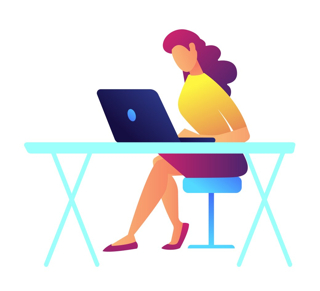 Female programmer working on laptop at her office desk vector illustration. IT specialist and expert, young woman designer and developer, programmer concept. Isolated on white background.