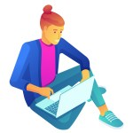 Young businessman sitting cross-legged and working at laptop, tiny people isometric 3D illustration. Distance learning, freelancer, blogger and developer concept. Isolated on white background.