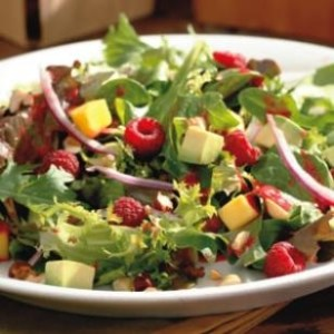 Avocado, raspberry and mango salad