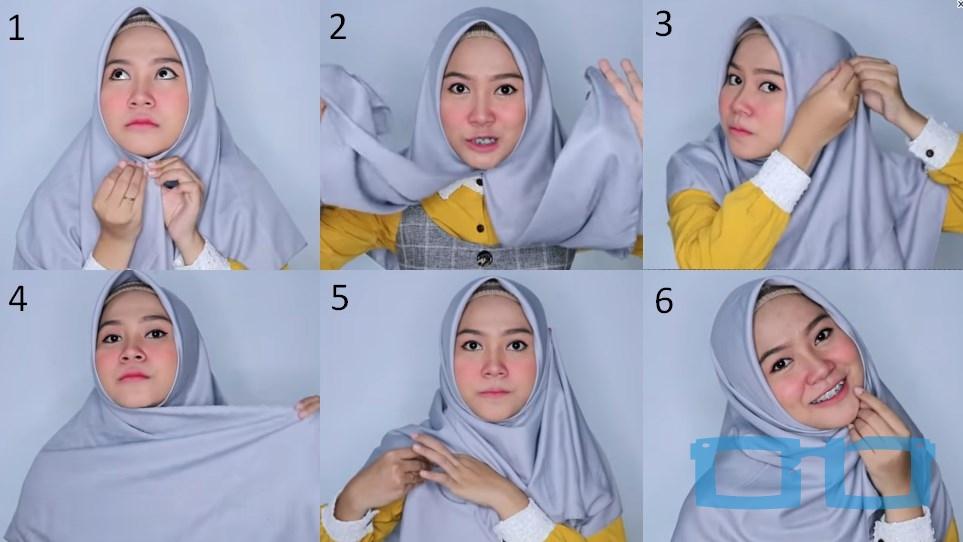 Tutorial Hijab Segi Empat Syari Terbaru untuk Wajah Bulat