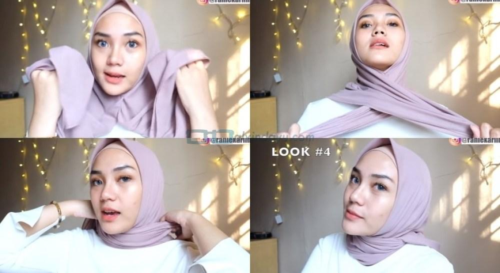 Cara Memakai Jilbab Segi Empat Sederhana untuk Wajah Bulat