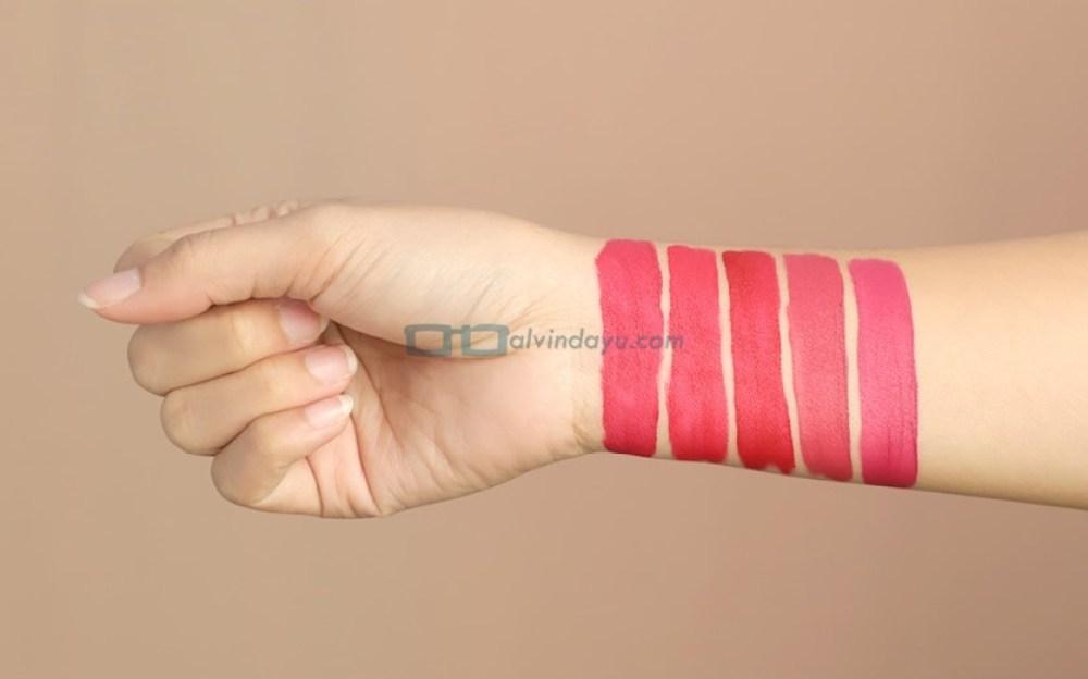 Swatch Wardah Exclusive Matte Lip Cream Kategori Red & Berry