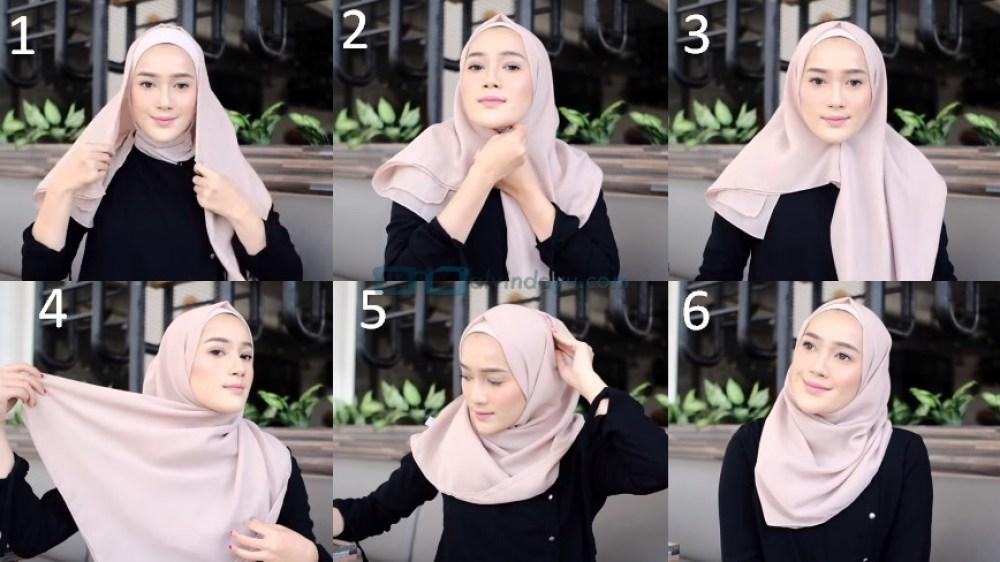Toturial Hijab Segi Empat Model Pashmina Simple dan Modis