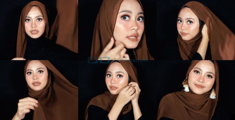 Tutorial Hijab Pashmina Diamond Pesta