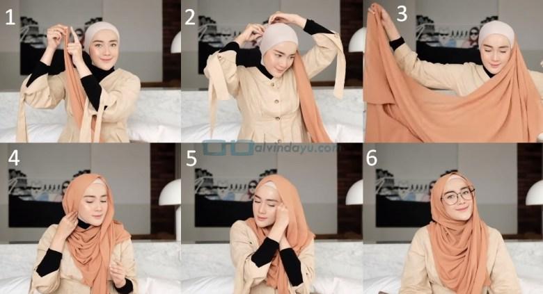 Tutorial Hijab Pashmina Simple untuk Wajah Bulat dan Berkacamata