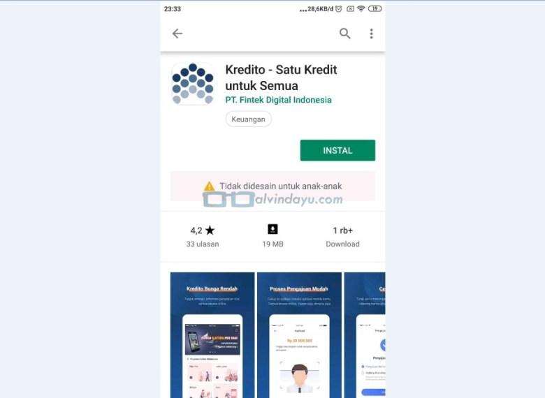 Instal Aplikasi Kredito