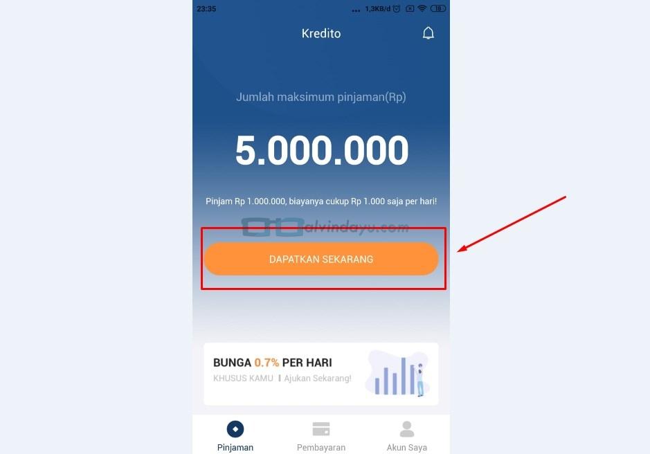 Tampilan Awal Aplikasi Kredito