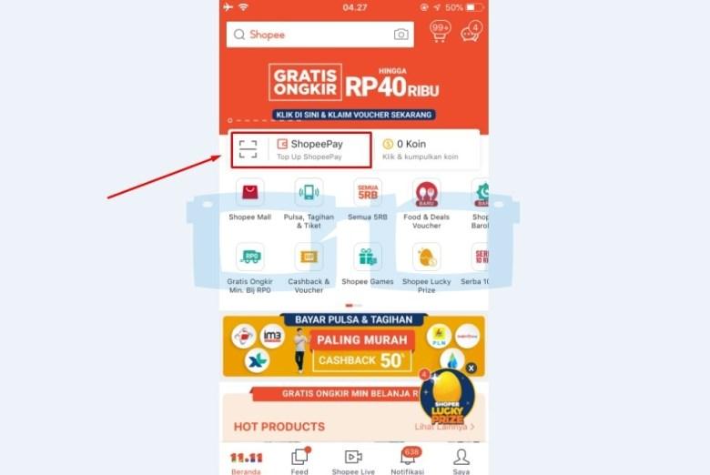 Buka Aplikasi Shopee dan Akun Shopeepay
